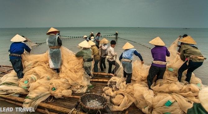 kéo lưới trên biển Hải Tiến