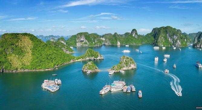 Hình ảnh của Vịnh Hạ Long khi nhìn từ xa